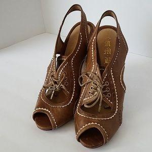 L.A.M.B brown lace up heels Sz 8.5